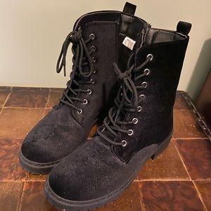 Black Velvet Combat Boots 8.5
